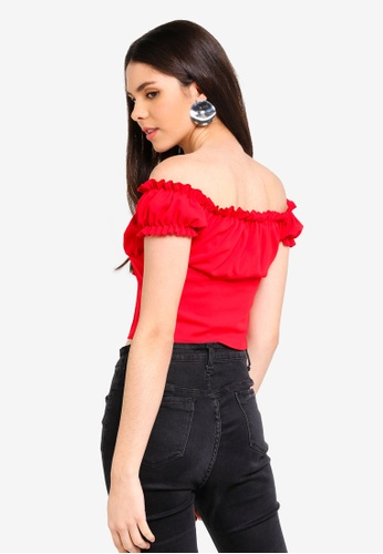 21e6c11e1b77f Buy MISSGUIDED Milkmaid Tie Front Bardot Crop Top Online