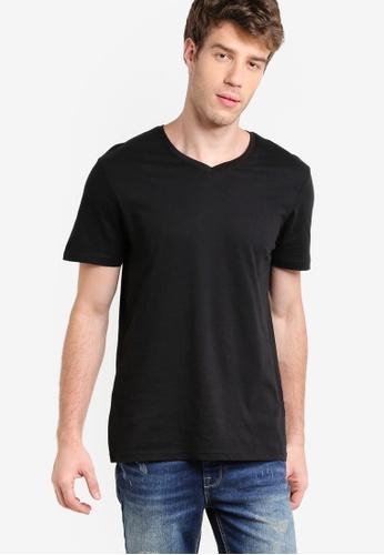 Burton Menswear London 黑色 Black V-Neck T-Shirt BU964AA27BHSMY_1