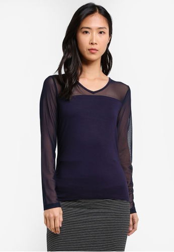 ONLY navy ONLY ONE Dilan Long Sleeve Mesh Top ON573AA0S456MY_1