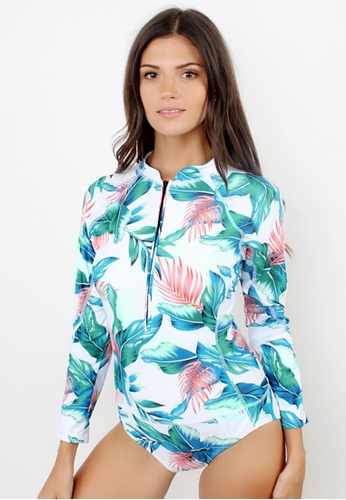 Shapes and Curves white and green and blue Summer Leaf Longsleeve Rashguard One Piece Swimsuit SH408US57NYKPH_1