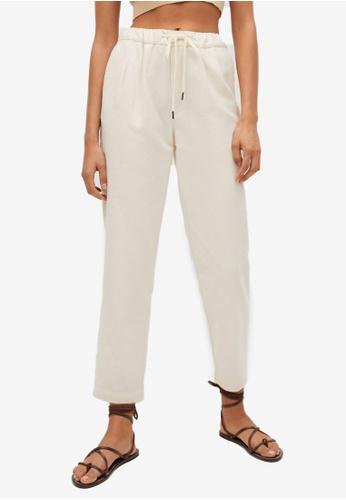 Mango beige Elastic Waist Cotton Trousers 0E209AAA7410A3GS_1