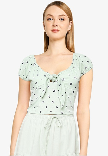 Cotton On green and blue Sally Sweetheart Short Sleeve Top F61FCAAF727D6BGS_1