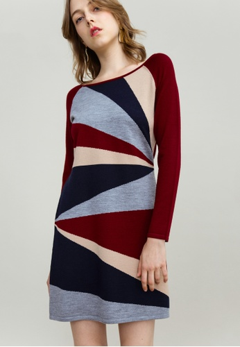 KLAPS red Multi-colored Dress 38193AA42EDE98GS_1