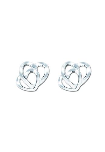 SC Tom Silver silver Twin Heart Stud Earring SC872AC37VPMPH_1