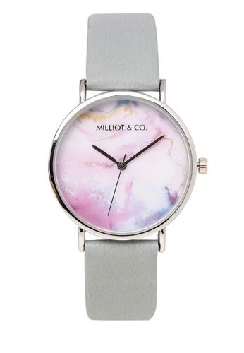 Milliot & Co. blue Mavis Silver Leather Strap Watch 1203AACBA72DF5GS_1