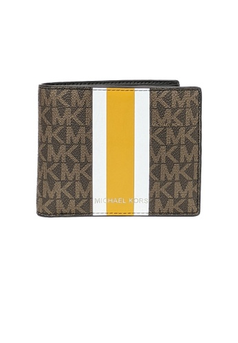 Michael Kors brown and multi Michael Kors Cooper Signature Canvas with Stripe Billfold Wallet With Passcase 36F1LC0F6B Brown Multi 2B99FAC1AE9F6FGS_1