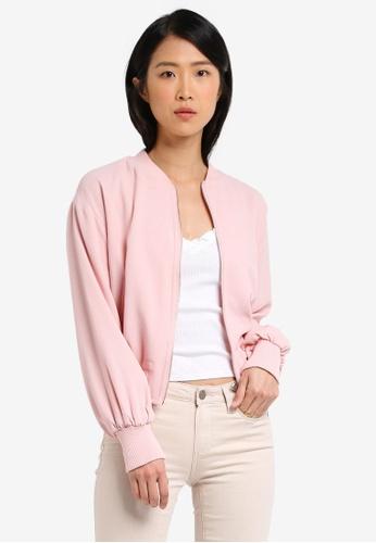 Cotton On pink Candice Blouson Sleeve Bomber Jacket CO372AA0SEAWMY_1
