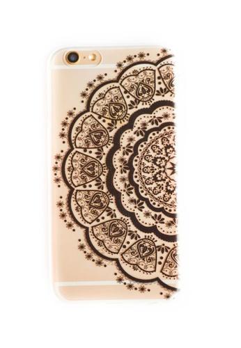 Fancy Cellphone Cases black Half Mandala Soft Transparent Case for iPhone 6/6s FA644AC15JPOPH_1