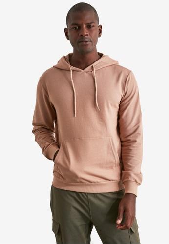 Trendyol brown Basic Long Sleeve Hoodie with Pocket 6063AAA335C835GS_1