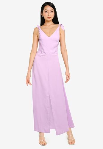 ZALORA BASICS purple Tie Detail Maxi Dress EE186AA346D987GS_1