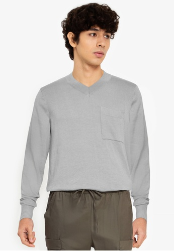 ZALORA BASICS grey V-Neck Patch Pocket Knitwear C03BDAA13780C8GS_1