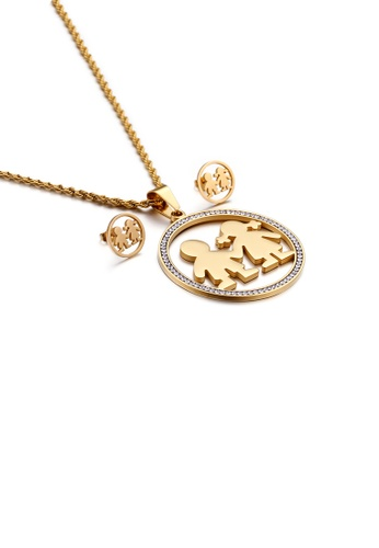 Glamorousky white Fashion Sweet Plated Gold Couple Geometric Round 316L Stainless Steel Necklace and Stud Earring Set with Cubic Zirconia 940A2AC9163A81GS_1
