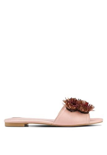 Velvet pink Flower Embelished Flats 57411SH96911AAGS_1