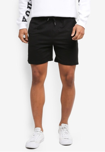 Factorie black and white Sport Fleece Shorts F58F6AAAEB12F6GS_1