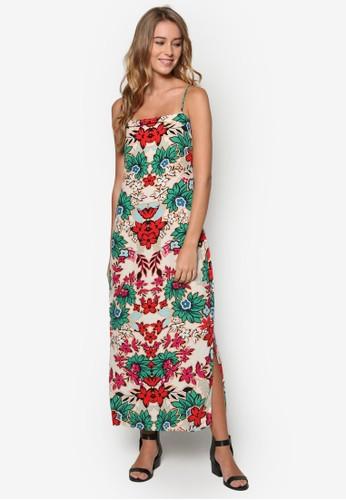 懷舊風印花細肩esprit 寢具帶連身長裙, 服飾, 清新俏皮
