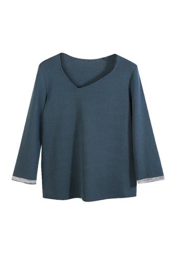 Giordano Ladies blue Mix Yarn Trims Diamond Collar Sweater D94B6AA5F343FFGS_1