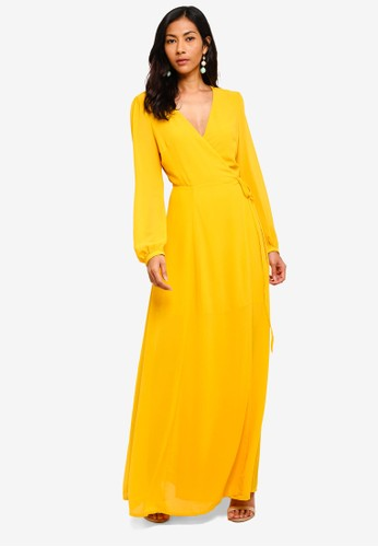 Glamorous yellow Tie Waist Wrap Maxi Dress 496A1AAD779F81GS_1