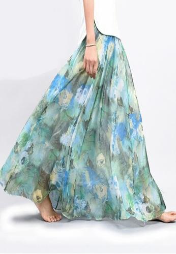 Twenty Eight Shoes blue VANSA Floral Chiffon Long Skirt VCW-Sk1136.21 D07E3AAEC0D0AEGS_1