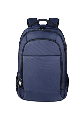 Lara navy Men's Water-repellent Nylon Zipper Laptop Backpack - Navy 9FCB5ACF7467D2GS_1