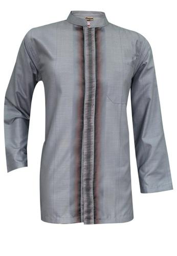 SULTAN grey SULTAN KURTA - BAJU RAIHAN D1- COLLAR  FULL SLEEVES D93DEAA569FFA3GS_1