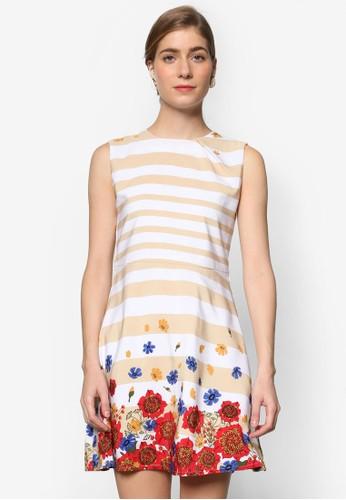 條紋印花無袖連京站 esprit身裙, 服飾, 洋裝