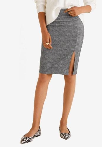 Mango grey Vent Mini Skirt 655CCAAE421F74GS_1