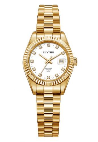 Rhythm RQ1610S 05 - Jam Tangan Wanita - Stainless - Gold White