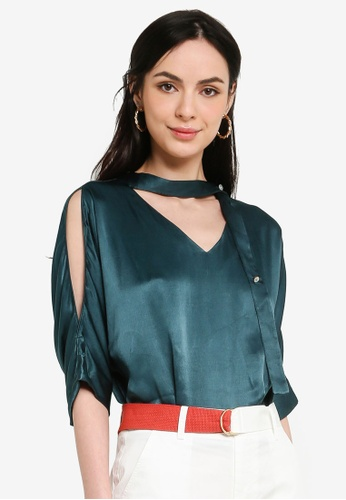 Hopeshow green Satin V-Neck Cold Shoulder Blouse 4839FAA6FF50B7GS_1
