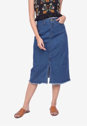 c231dc0bca Caoros blue Slit Denim Skirt 444B8AA94CDB9CGS_1