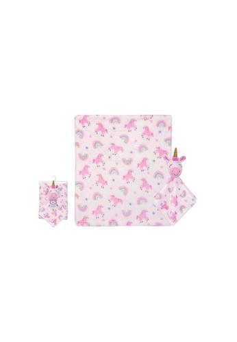 Little Kooma pink Luvable Friends Plush Blanket With Sherpa Backing Rainbow Unicorn 40405 CC1EEKCC1ECD82GS_1