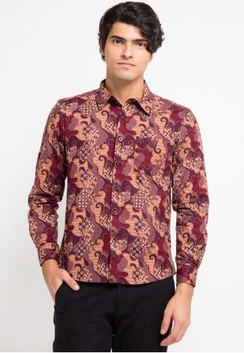 YEGE red and multi Long Sleeve Batik Slim Fit Shirt YE201AA0V8YQID_1