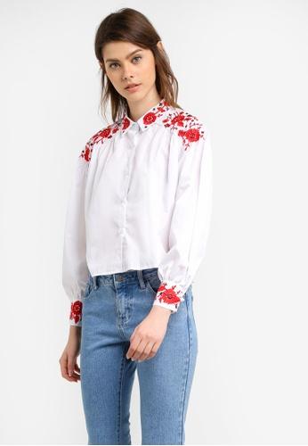 Megane white Chardae Embroidery Shirt ME617AA0S0W6MY_1