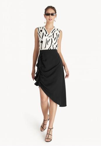 b70b7f04a3f24 Buy Pomelo Asymmetric Side Ruffle Skirt - Black Online on ZALORA ...