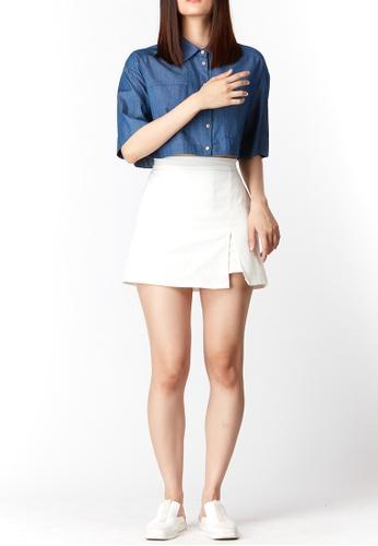 What To Wear white One Side Slit Denim Skorts in White C33B1AAA6BCB0BGS_1