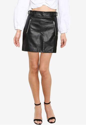 Miss Selfridge black Black Zip Pu Skirt 0990DAABBBEB03GS_1