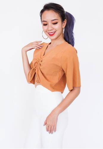 7b17534c624666 Buy Hook Clothing Ruched Front Linen Crop Top Online | ZALORA Malaysia