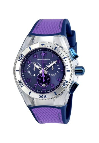 TECHNOMARINE blue and purple Technomarine Cruise Men 46.65mm Case Blue, Purple Silicone, Canvas Strap Blue, Purple Dial Quartz Watch TM-115013 TE359AC0F5C8SG_1
