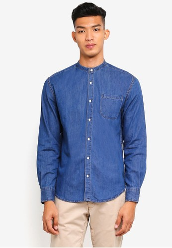 threads by the produce blue Denim Mandarin Shirt 4367CAA0BC3407GS_1