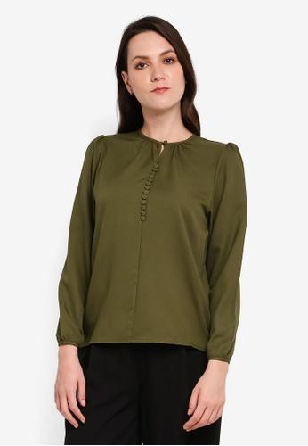 BYN green Button Front Long Sleeve Top FBB68AA2B67675GS_1