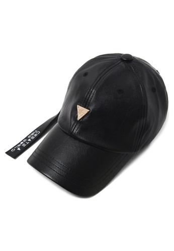 DOSSCAPS black HATER Leather Longstrap Cap DO290AC15JEAMY_1