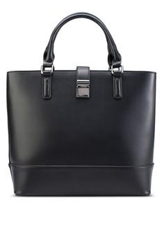 【ZALORA】 扣環提把購物手提包