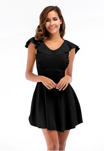 Urban Outlier black Sleeveless Ruffled knit Dress 91546AA6D02222GS_1