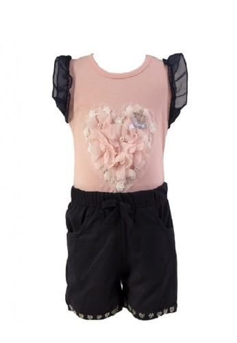 Mini Zo pink and navy Zeline Baby Girl Top Bottom Set Pink A379EKA64AED00GS_1
