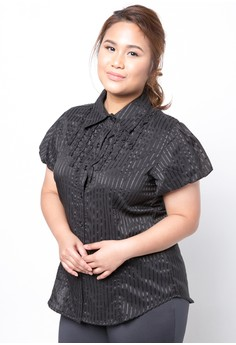 Plus Size Polo Blouse with Front Ruffles