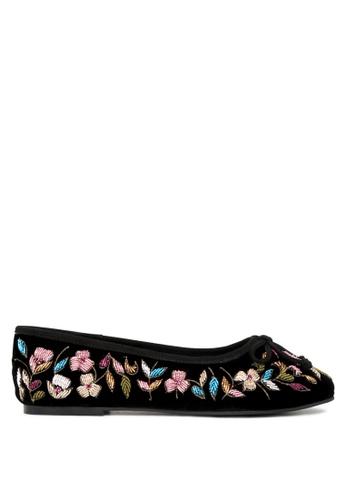 RAG & CO black Beverly Velvet Embroidered  Flat Ballerinas 7CDD9SH3DB2240GS_1