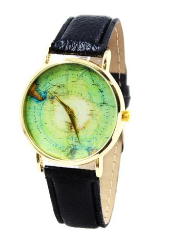 Shop World of Watches Geneva Globe Map Leather Strap Watch ...