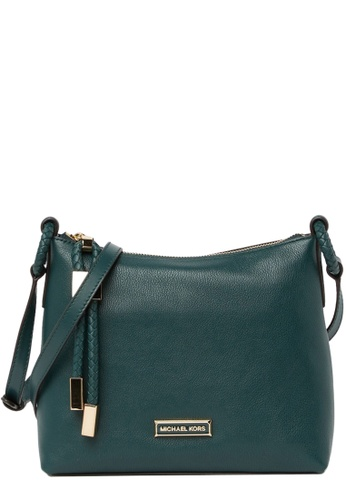 MICHAEL KORS green Michael Kors Lexington Large Pebbled Leather Crossbody Bag in Dark Atlantic 21C53AC7F6E556GS_1