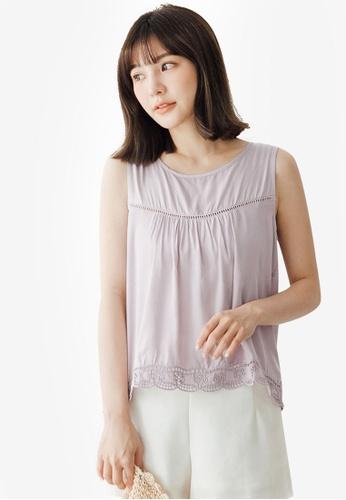 Tokichoi purple Lace Insert Detail Vest Top 1936BAAB5926BAGS_1