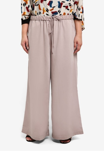 Ex'otico beige Plus Size Basic Long Trousers EX373AA0RUVTMY_1