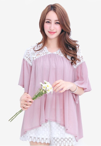 Yoco pink Blouse with Lace Panel D88B0AA7C130E9GS_1